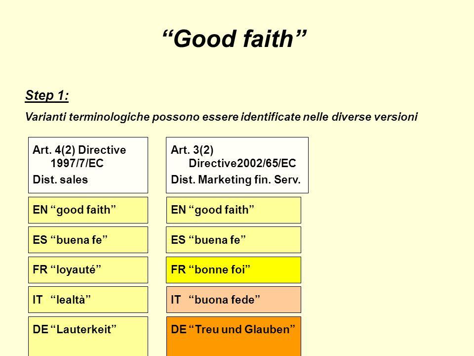 Good faith Step 1: Varianti terminologiche possono essere identificate nelle diverse versioni ENgood faith Art.