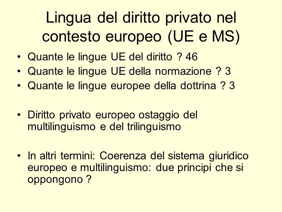 Lingua del diritto privato nel contesto europeo (UE e MS) Quante le lingue UE del diritto .