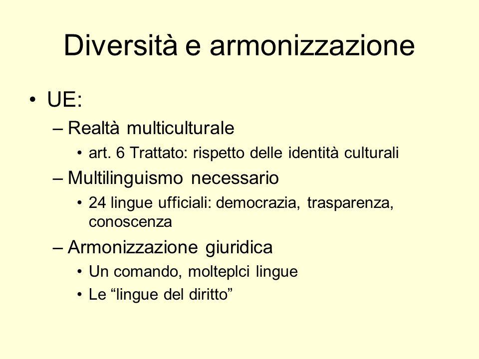 Diversità e armonizzazione UE: –Realtà multiculturale art.