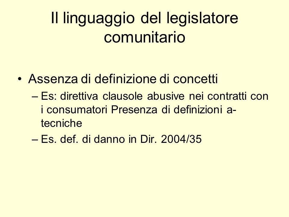 Il linguaggio del legislatore comunitario Assenza di definizione di concetti –Es: direttiva clausole abusive nei contratti con i consumatori Presenza di definizioni a- tecniche –Es.