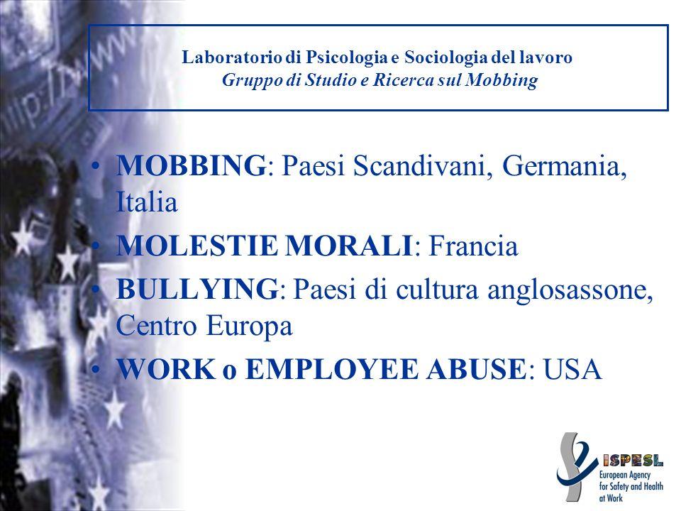 Laboratorio di Psicologia e Sociologia del lavoro Gruppo di Studio e Ricerca sul Mobbing MOBBING: Paesi Scandivani, Germania, Italia MOLESTIE MORALI: