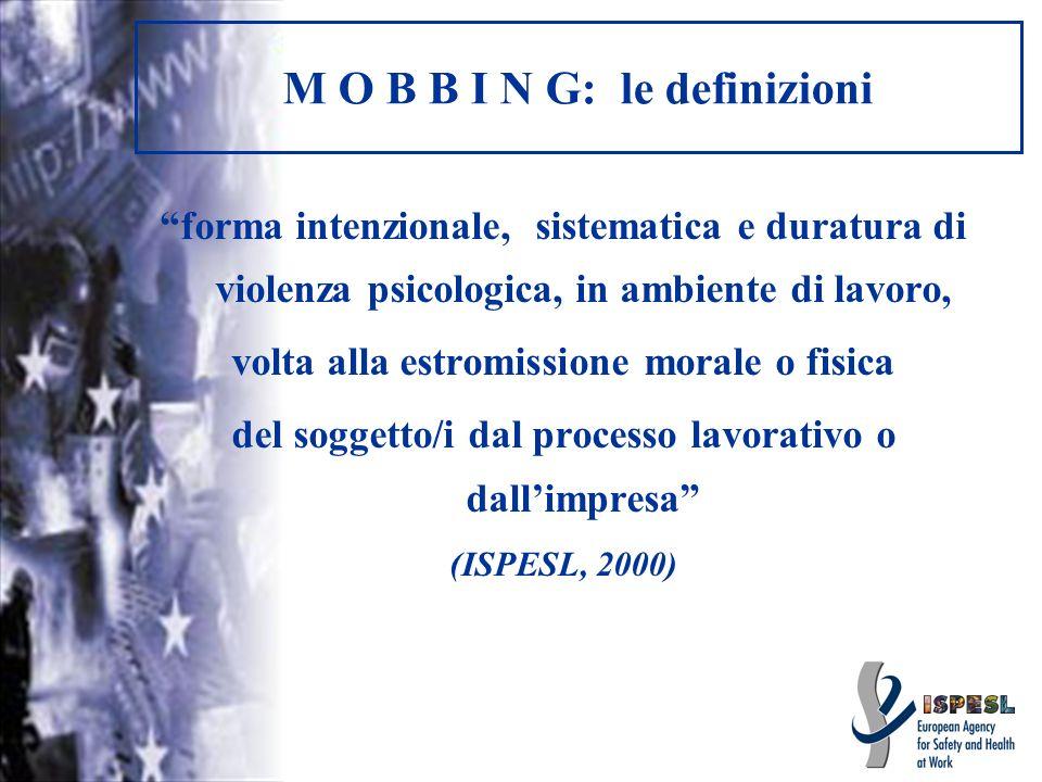 M O B B I N G: le definizioni forma intenzionale, sistematica e duratura di violenza psicologica, in ambiente di lavoro, volta alla estromissione mora