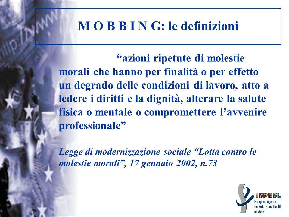 M O B B I N G: le definizioni azioni ripetute di molestie morali che hanno per finalità o per effetto un degrado delle condizioni di lavoro, atto a le