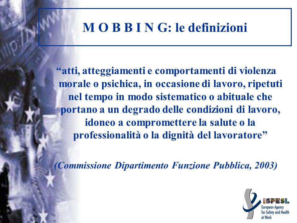 M O B B I N G: le definizioni atti, atteggiamenti e comportamenti di violenza morale o psichica, in occasione di lavoro, ripetuti nel tempo in modo si