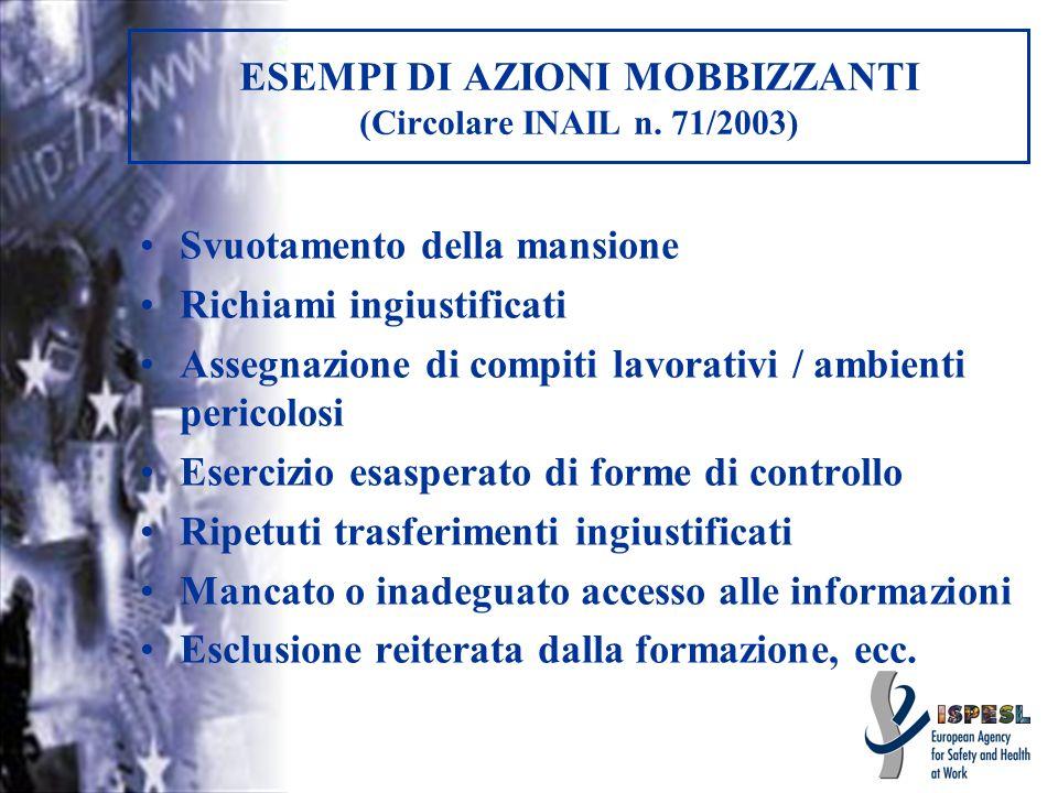 ESEMPI DI AZIONI MOBBIZZANTI (Circolare INAIL n. 71/2003) Svuotamento della mansione Richiami ingiustificati Assegnazione di compiti lavorativi / ambi