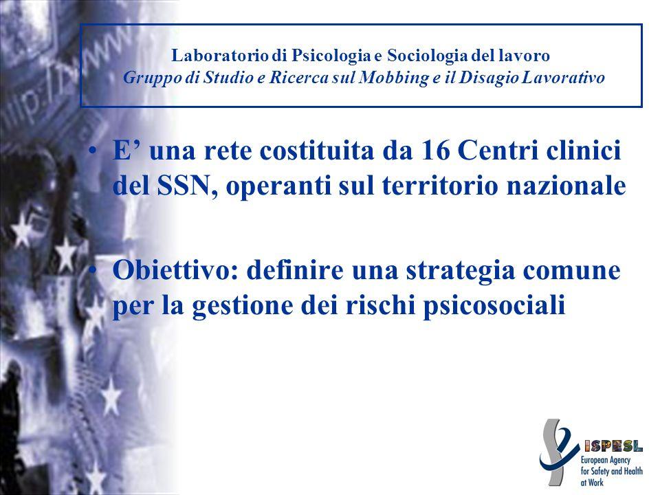 Laboratorio di Psicologia e Sociologia del lavoro Gruppo di Studio e Ricerca sul Mobbing e il Disagio Lavorativo E una rete costituita da 16 Centri cl