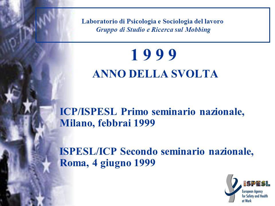 Laboratorio di Psicologia e Sociologia del lavoro Gruppo di Studio e Ricerca sul Mobbing IRROMPONO I MEDIA IL MOBBING ESPLODE IN ITALIA