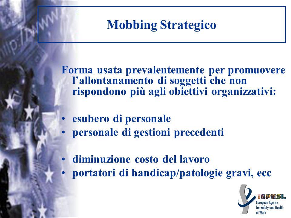 Mobbing Strategico Forma usata prevalentemente per promuovere lallontanamento di soggetti che non rispondono più agli obiettivi organizzativi: esubero
