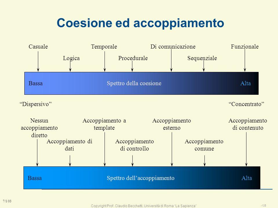 Copyright Prof. Claudio Becchetti, Università di Roma La Sapienza -104 7/1/03 Come si definiscono i moduli? l Principio di massima coesione e minimo a