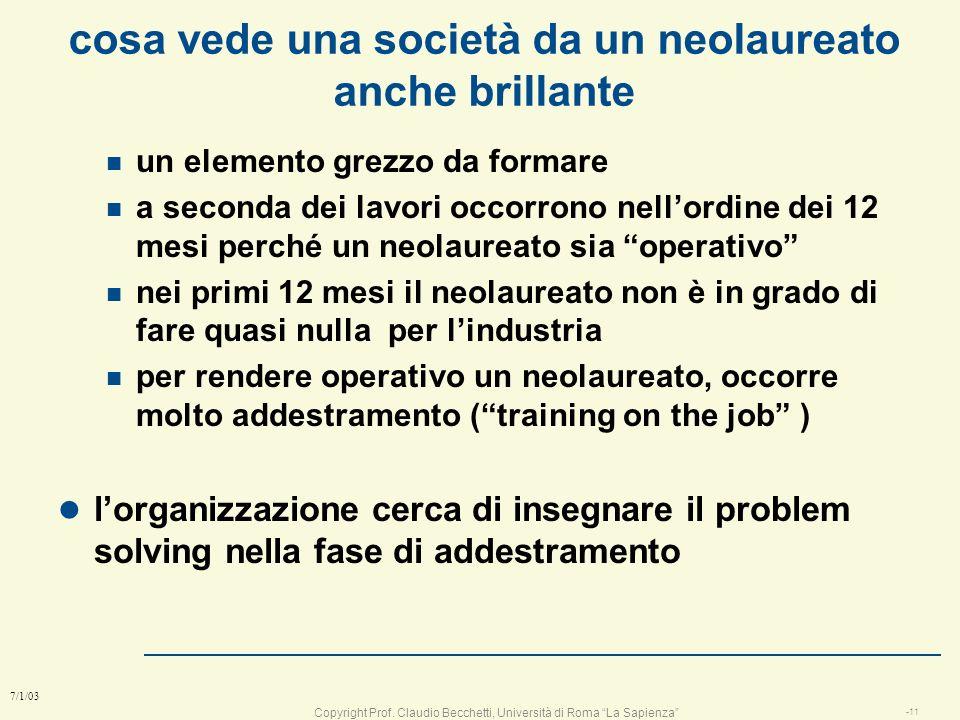 Copyright Prof. Claudio Becchetti, Università di Roma La Sapienza -10 7/1/03 a cosa vi serve veramente questo corso ? n Non progetterete mai ? n Non s