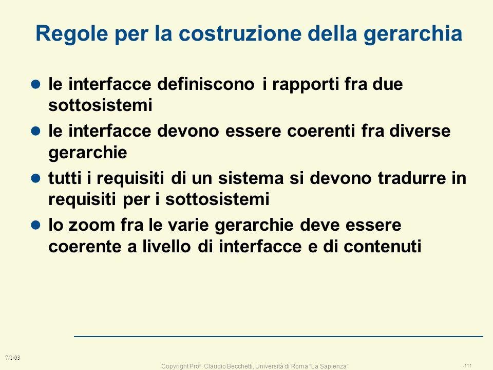 Copyright Prof. Claudio Becchetti, Università di Roma La Sapienza -110 7/1/03 La gerarchia del progetto auto l La struttura è simile ad WBS (work brea