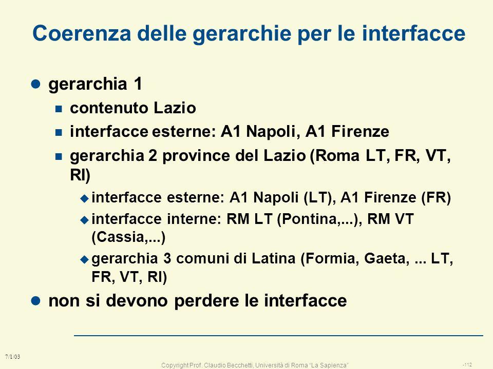 Copyright Prof. Claudio Becchetti, Università di Roma La Sapienza -111 7/1/03 Regole per la costruzione della gerarchia l le interfacce definiscono i