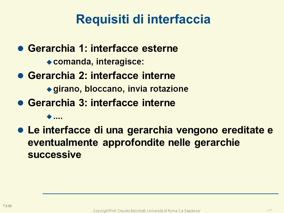 Copyright Prof. Claudio Becchetti, Università di Roma La Sapienza -116 7/1/03 diagramma funzionale: 4° gerarchia gestisce Motore Invia rotazione Gerar