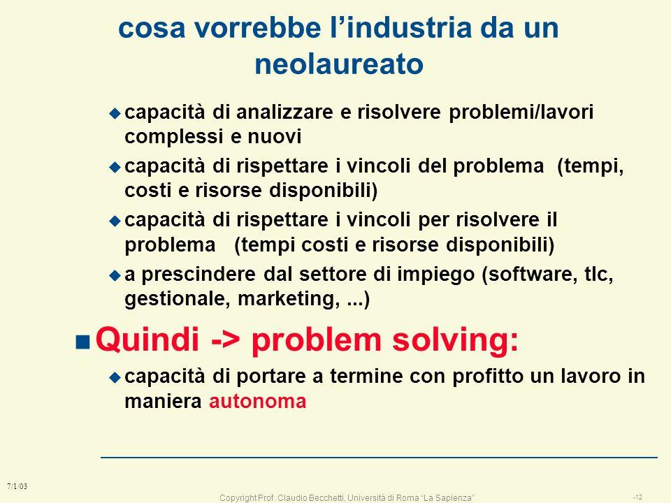 Copyright Prof. Claudio Becchetti, Università di Roma La Sapienza -11 7/1/03 cosa vede una società da un neolaureato anche brillante n un elemento gre