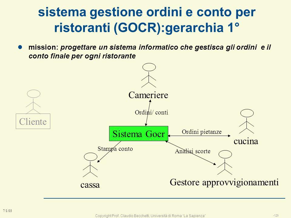 Copyright Prof. Claudio Becchetti, Università di Roma La Sapienza -128 7/1/03 Diagrammi E/R (notazione UML) Oggetto attributo 1 (ID) attributo 2.. Ogg