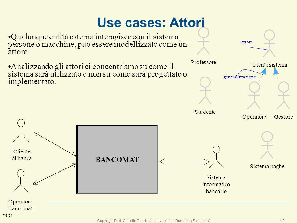 Copyright Prof. Claudio Becchetti, Università di Roma La Sapienza -135 7/1/03 esercizio: segreteria telefonica l Identificare gli stati e le conession