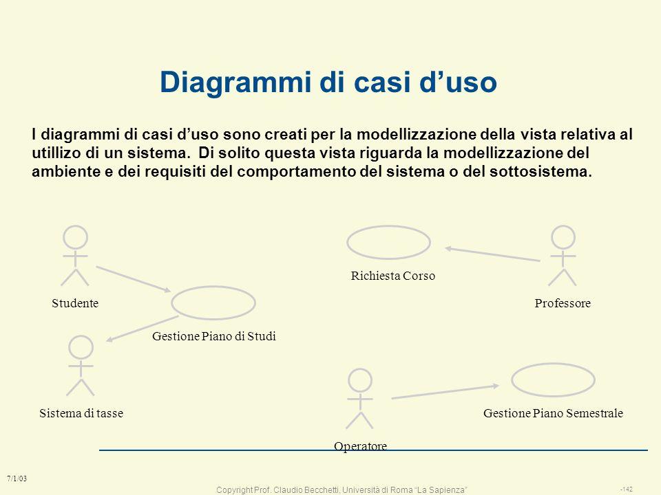 Copyright Prof. Claudio Becchetti, Università di Roma La Sapienza -141 7/1/03 Caso duso: telefonata con il telefonino l lutente spinge i bottoni del n