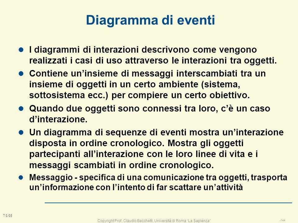 Copyright Prof. Claudio Becchetti, Università di Roma La Sapienza -143 7/1/03 Identificazione dei casi duso 1. Identificare gli attori. 2. Intervistar