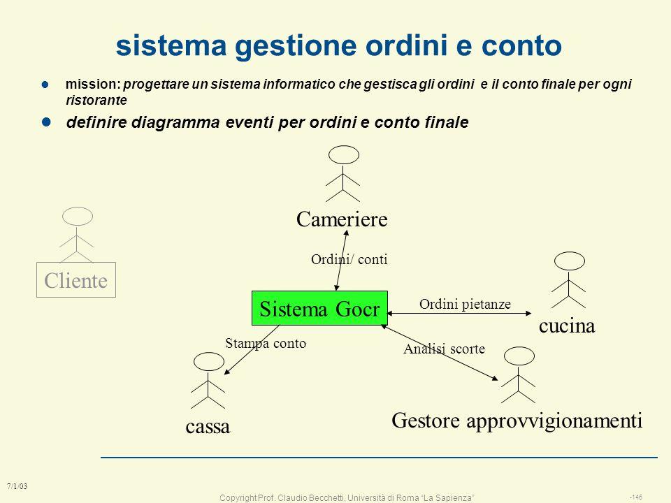 Copyright Prof. Claudio Becchetti, Università di Roma La Sapienza -145 7/1/03 Diagrammi di sequenze (=di eventi) Tempo utente telefonino Digita numero