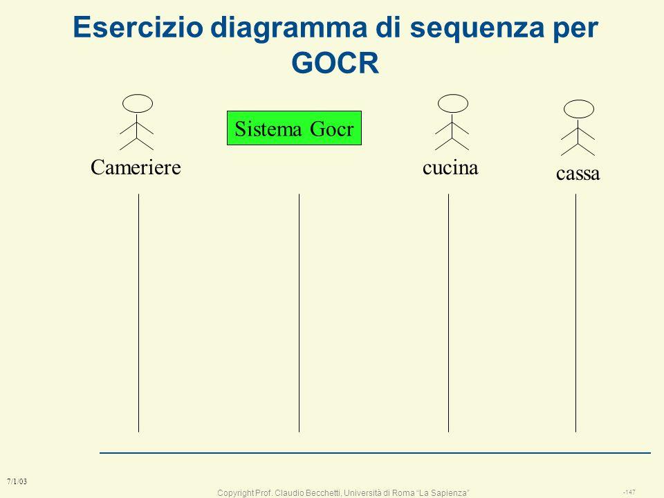 Copyright Prof. Claudio Becchetti, Università di Roma La Sapienza -146 7/1/03 sistema gestione ordini e conto l mission: progettare un sistema informa