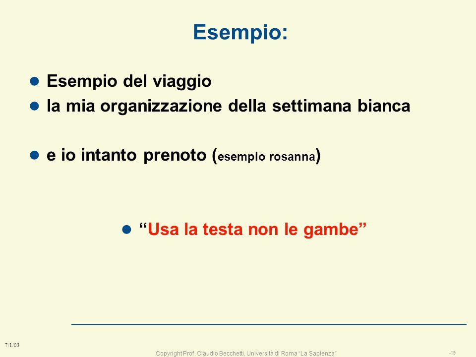 Copyright Prof. Claudio Becchetti, Università di Roma La Sapienza -18 7/1/03 Task problemi e progettazione task da fare Problema da risolvere Concluso