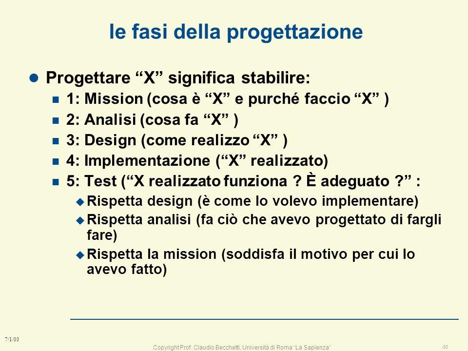 Copyright Prof. Claudio Becchetti, Università di Roma La Sapienza -29 7/1/03 Schema del corso l parte 1 ; le fasi della progettazione l parte 2 : la p