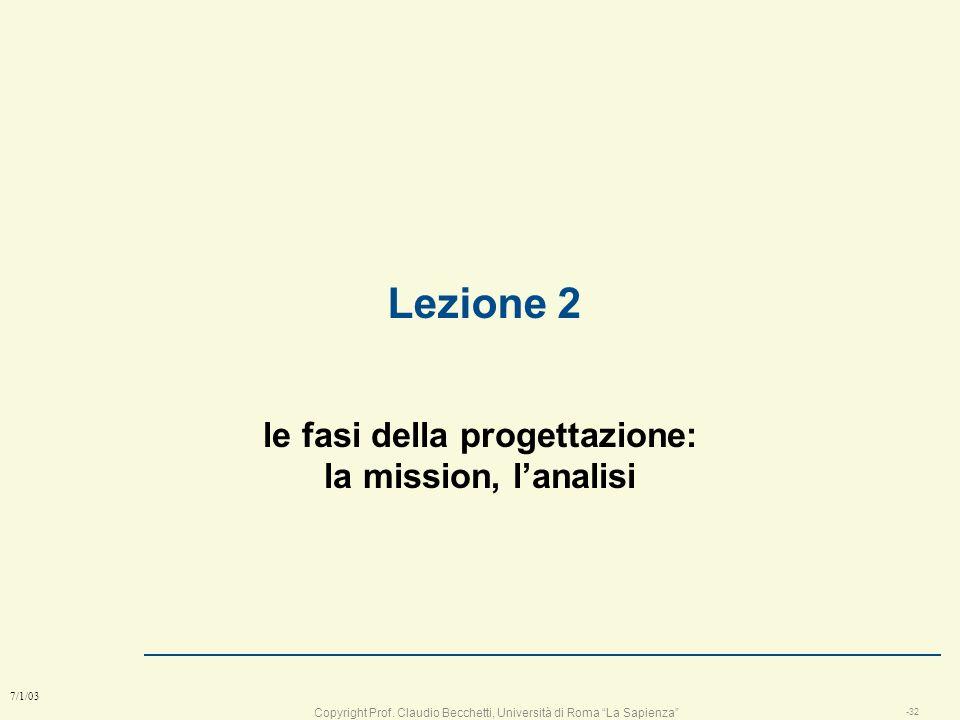 Copyright Prof. Claudio Becchetti, Università di Roma La Sapienza -31 7/1/03 Capacità acquisite nella prima lezione l dato un problema qualsiasi: n id