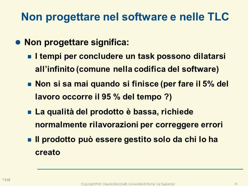 Copyright Prof. Claudio Becchetti, Università di Roma La Sapienza -35 7/1/03 Perché imparare a progettare Secondo la letteratura scientifica, un perso