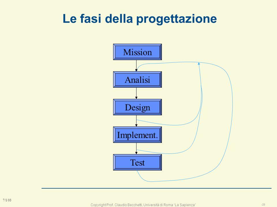 Copyright Prof. Claudio Becchetti, Università di Roma La Sapienza -38 7/1/03 Parte prima: le fasi della progettazione l Progettare X significa stabili