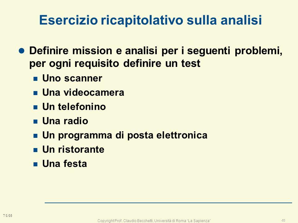 Copyright Prof. Claudio Becchetti, Università di Roma La Sapienza -52 7/1/03 conclusione sugli errori l lanalista non deve confondere analisi con desi