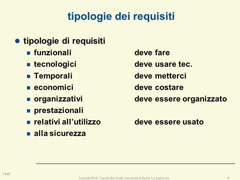 Copyright Prof. Claudio Becchetti, Università di Roma La Sapienza -58 7/1/03 Perché i progetti falliscono 1: Requisiti incompleti 13.1% 2: mancato coi