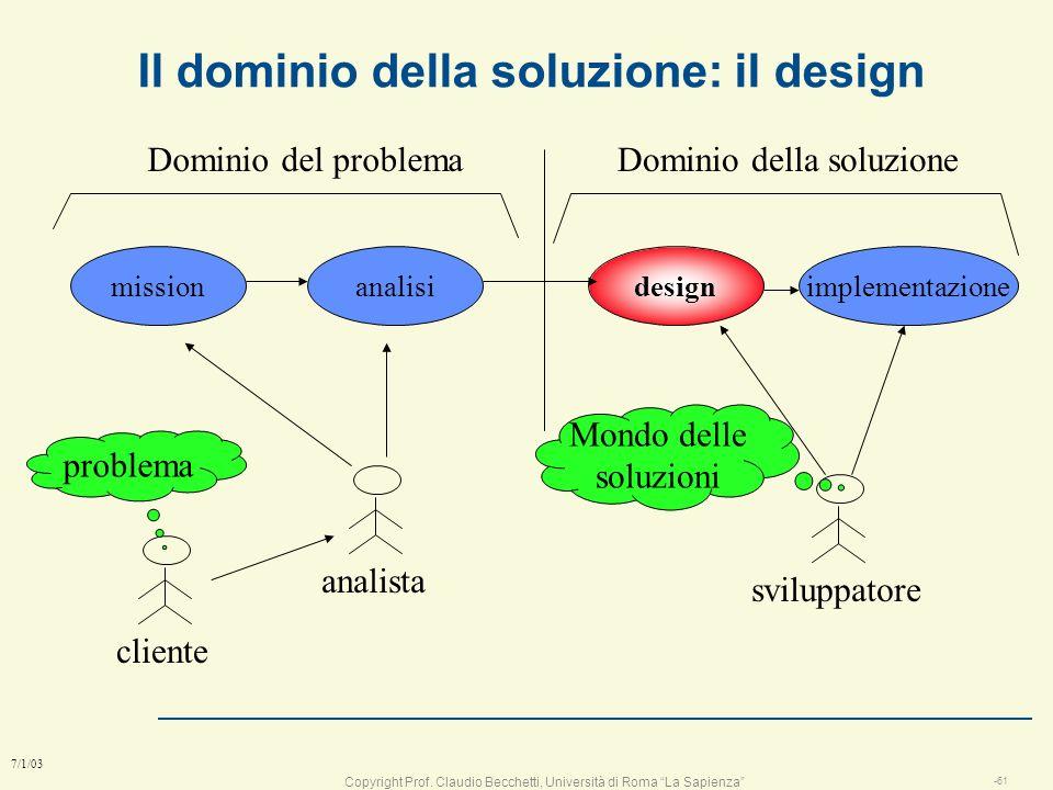 Copyright Prof. Claudio Becchetti, Università di Roma La Sapienza -60 7/1/03 Storia di un progetto Ciò che ha chiesto il cliente Ciò che ha capito il