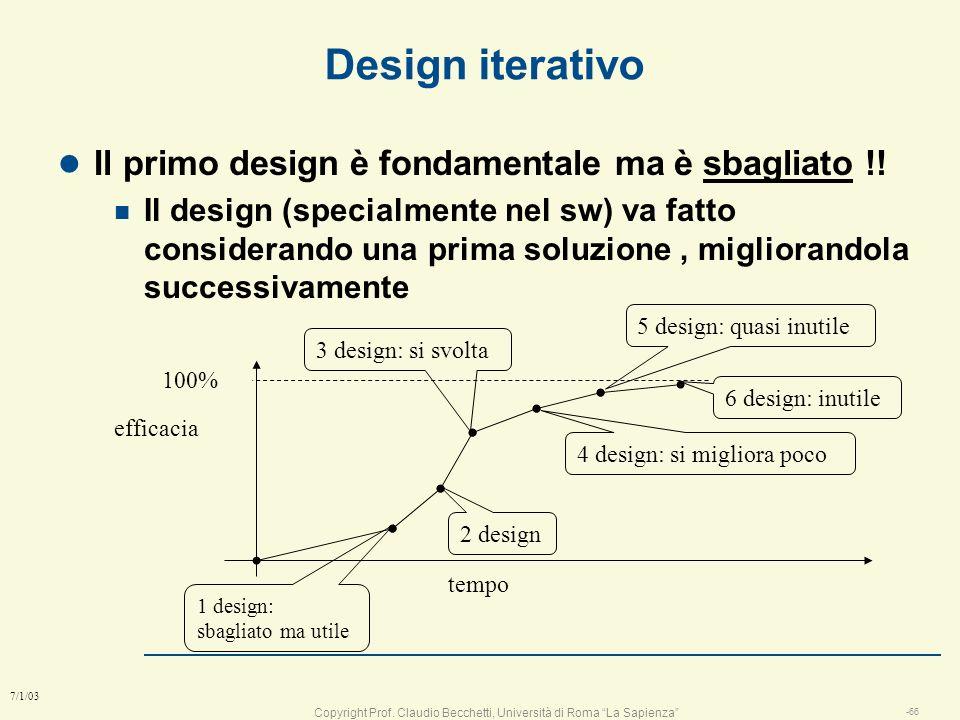 Copyright Prof. Claudio Becchetti, Università di Roma La Sapienza -65 7/1/03 Validazione del design l E in linea con lanalisi ? n tracciare ogni compo