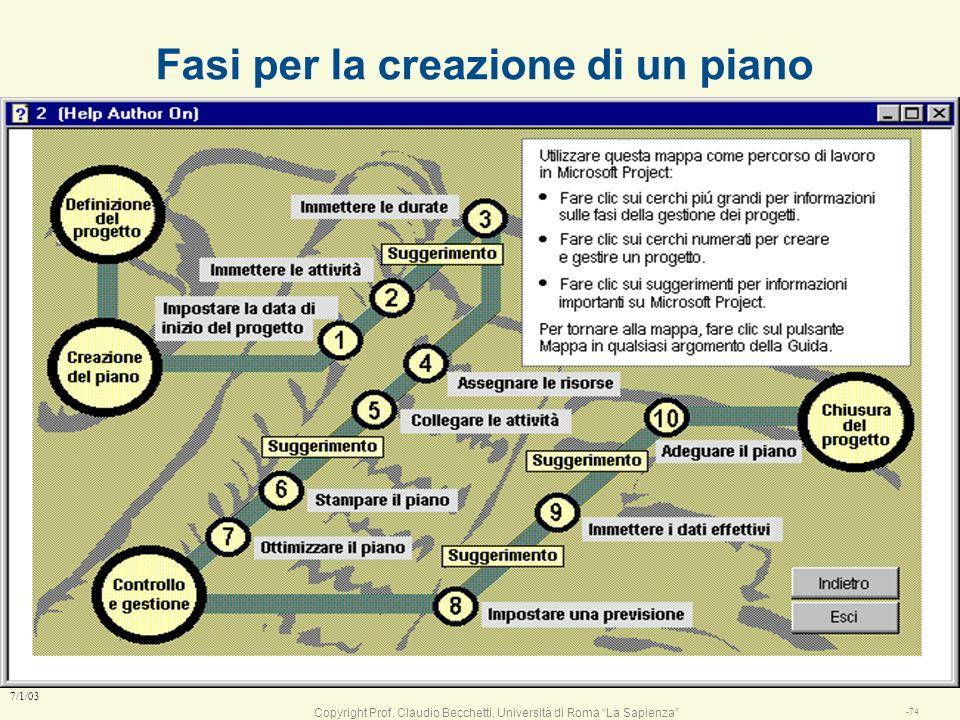 Copyright Prof. Claudio Becchetti, Università di Roma La Sapienza -73 7/1/03 Come si gestisce un progetto / problema l definire gli obiettivi del prog