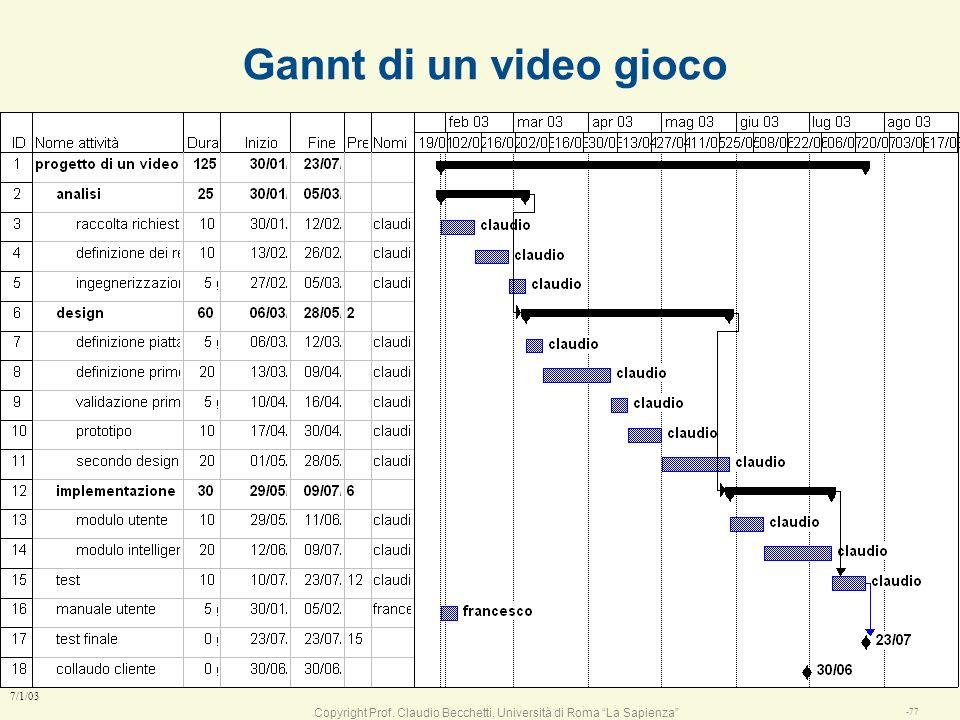 Copyright Prof. Claudio Becchetti, Università di Roma La Sapienza -76 7/1/03 Esercitazione sui Gannt l I Gannt n scadenze, barre attività vincoli l Cr