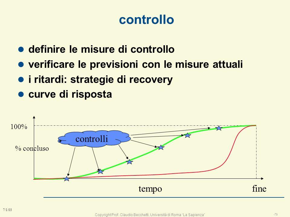 Copyright Prof. Claudio Becchetti, Università di Roma La Sapienza -78 7/1/03 Controllo l definire le misure per il controllo l misurare periodicamente