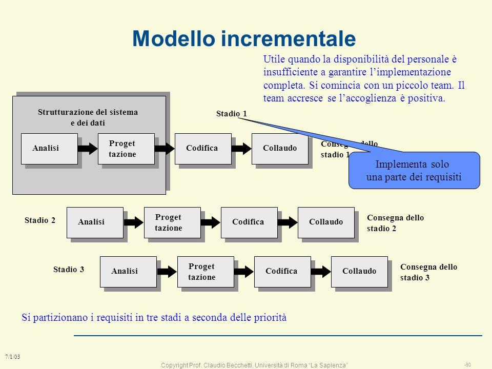 Copyright Prof. Claudio Becchetti, Università di Roma La Sapienza -89 7/1/03 Definire loutput del sistema Specificare lincremento del sistema Costruir