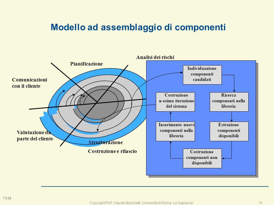 Copyright Prof. Claudio Becchetti, Università di Roma La Sapienza -91 7/1/03 Modello a spirale Il modello abbina la natura iterativa della prototipazi