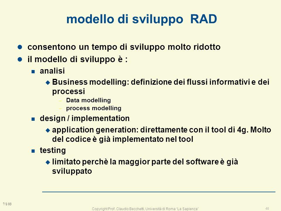 Copyright Prof. Claudio Becchetti, Università di Roma La Sapienza -92 7/1/03 Pianificazione Analisi dei rischi Comunicazioni con il cliente Strutturaz
