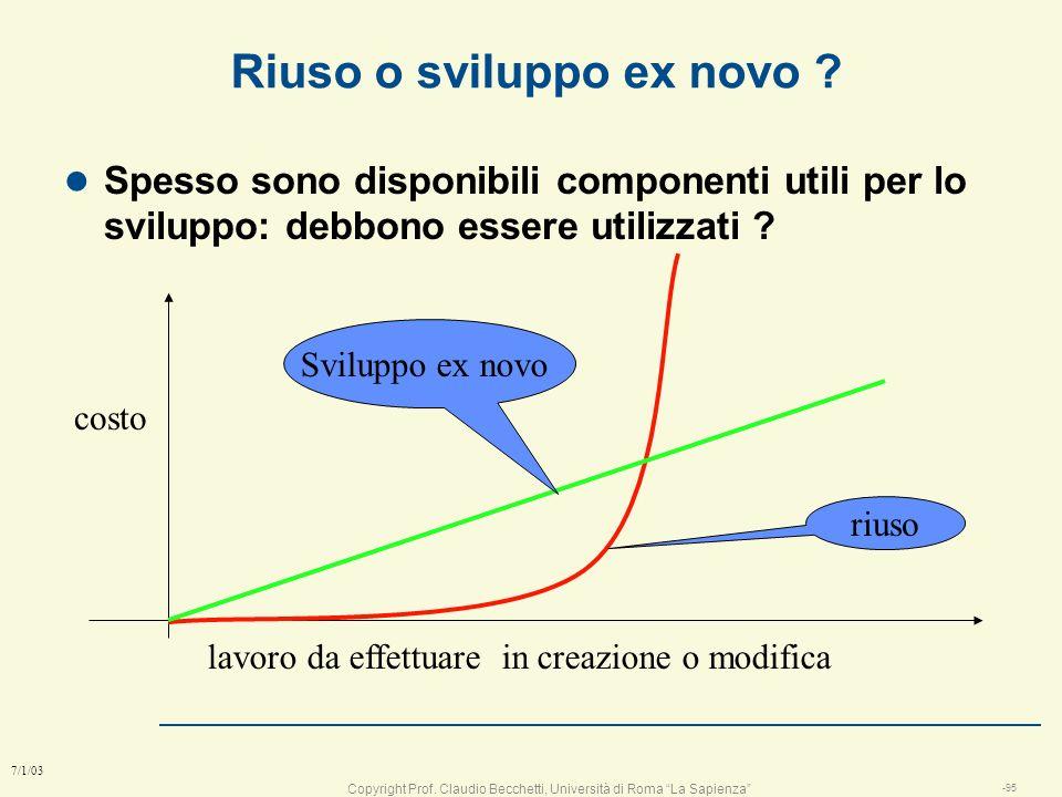 Copyright Prof. Claudio Becchetti, Università di Roma La Sapienza -94 7/1/03 Pro&contro del modello RAD l Pro n velocità n affidabilità (il codice è p