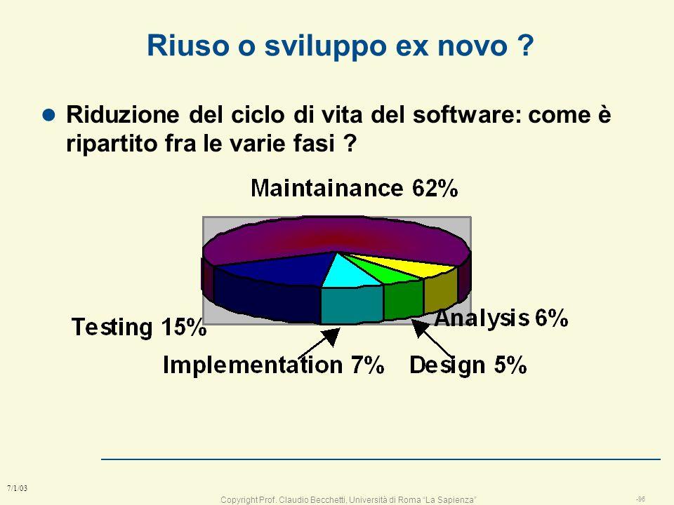 Copyright Prof. Claudio Becchetti, Università di Roma La Sapienza -95 7/1/03 Riuso o sviluppo ex novo ? l Spesso sono disponibili componenti utili per