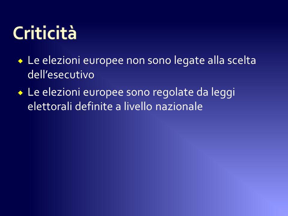 Le elezioni europee non sono legate alla scelta dellesecutivo Le elezioni europee sono regolate da leggi elettorali definite a livello nazionale
