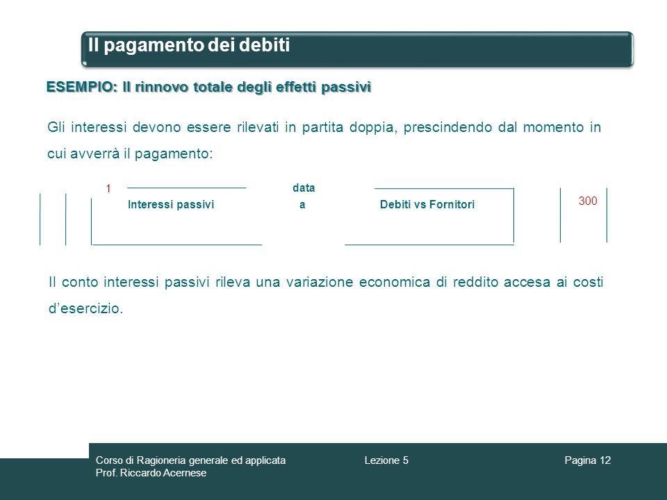 Il pagamento dei debiti ESEMPIO: Il rinnovo totale degli effetti passivi Gli interessi devono essere rilevati in partita doppia, prescindendo dal mome
