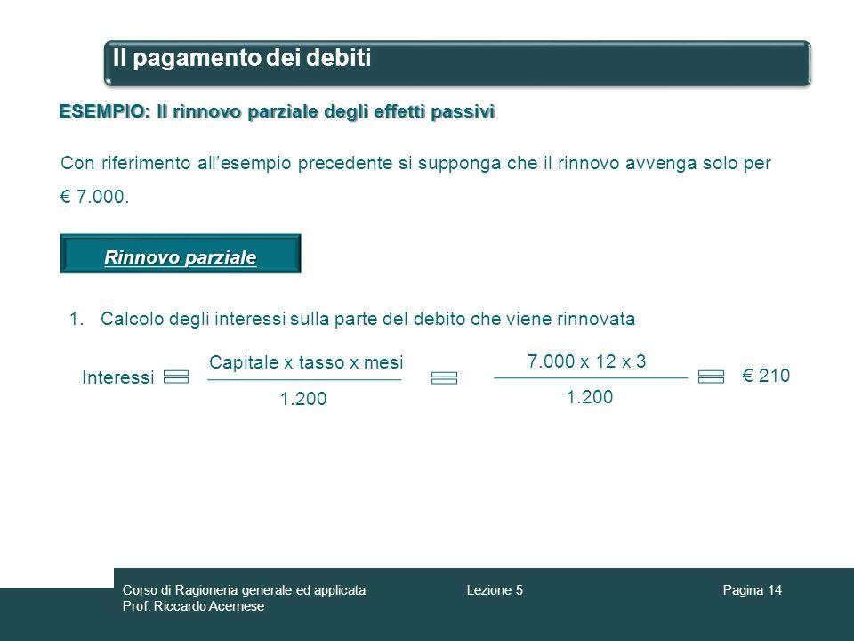 Il pagamento dei debiti ESEMPIO: Il rinnovo parziale degli effetti passivi Con riferimento allesempio precedente si supponga che il rinnovo avvenga so