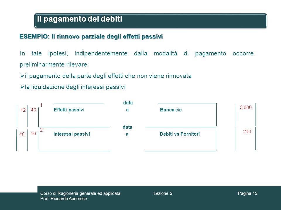 Il pagamento dei debiti ESEMPIO: Il rinnovo parziale degli effetti passivi In tale ipotesi, indipendentemente dalla modalità di pagamento occorre prel