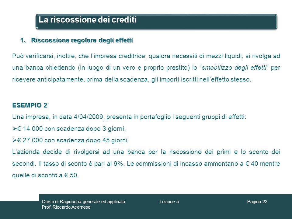 La riscossione dei crediti Pagina 22 1.Riscossione regolare degli effetti Può verificarsi, inoltre, che limpresa creditrice, qualora necessiti di mezz