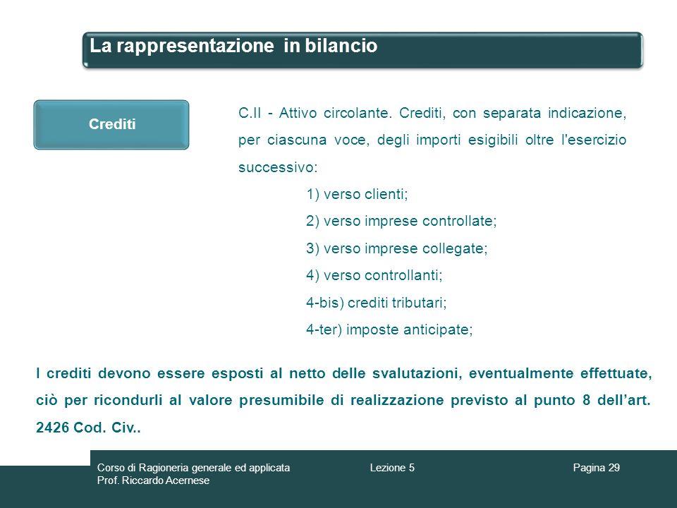 La rappresentazione in bilancio Pagina 29Lezione 5Corso di Ragioneria generale ed applicata Prof. Riccardo Acernese Crediti C.II - Attivo circolante.