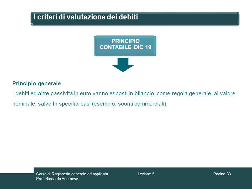 I criteri di valutazione dei debiti Pagina 33Lezione 5Corso di Ragioneria generale ed applicata Prof. Riccardo Acernese PRINCIPIO CONTABILE OIC 19 Pri