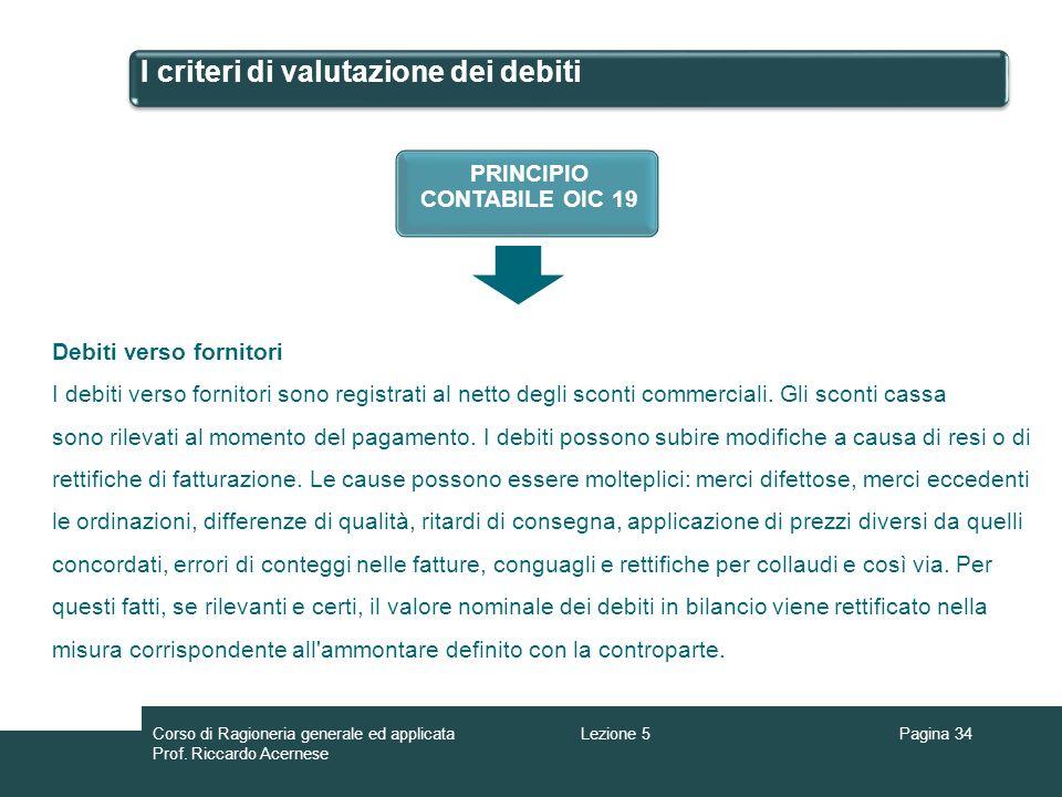 I criteri di valutazione dei debiti Pagina 34Lezione 5Corso di Ragioneria generale ed applicata Prof. Riccardo Acernese PRINCIPIO CONTABILE OIC 19 Deb
