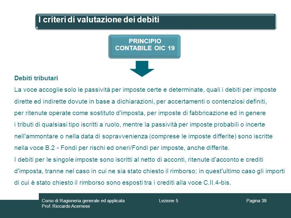 I criteri di valutazione dei debiti Pagina 39Lezione 5Corso di Ragioneria generale ed applicata Prof. Riccardo Acernese PRINCIPIO CONTABILE OIC 19 Deb